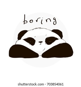 Boring cute panda face in cartoon style. Vector hand drawn illustration.