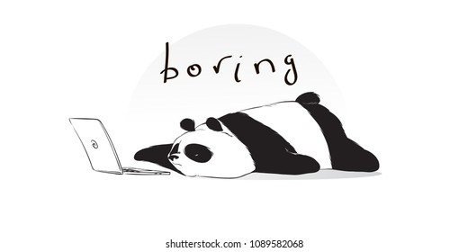 Boring cute panda watch something on notebook in cartoon style. Vector hand drawn illustration.