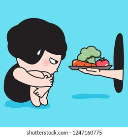 Boring Girl Hugs Her Knee Received Healthy Food Or Vegetable Trays Through A Hole In A Room Wall. Concept Of Weight Watcher Or Weight Loser Card Character illustration
