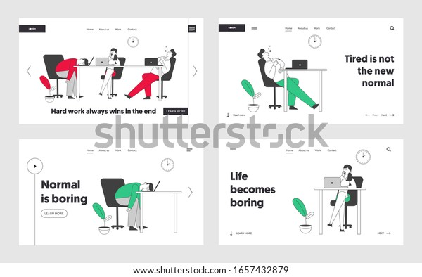 Boring Office Employees Sleeping Desk Postponing Stock Vector