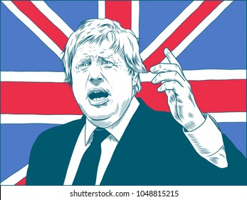 Boris Johnson. British politician, popular historian and journalist. Portrait Drawing Illustration. March 18, 2018