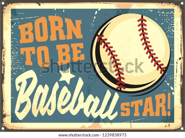Born Be Baseball Star Motivational Sports Stock Vector