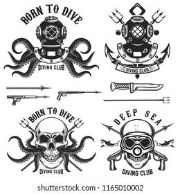 Born to dive. Set of vintage diver helmets, diver label templates and design elements.  Design elements for logo, label, emblem, sign, badge, brand mark. Vector illustration.