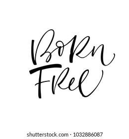 Born free phrase. Ink illustration. Modern brush calligraphy. Isolated on white background.
