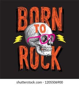 Born to rock skull vector graphic
