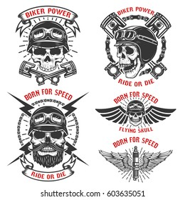 Born for speed. Set of the emblems with racer skulls. Biker club labels. Vector illustrations.