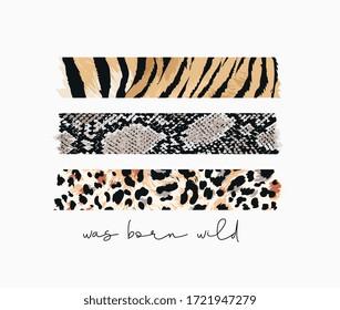 born wild slogan with wild animal skins pattern stripe print