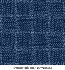 Boro Fabric Patch Kantha Vector Pattern. Darning Embroidery Needlework Seamless Background. Indigo Blue Dye. Sashiko Running Stitch Texture Textile Print. Japan Fashion Masculine Quilting Tile EPS 10