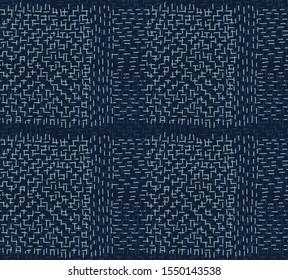 Boro Fabric Patch Kantha Vector Pattern. Darning Embroidery Needlework Seamless Background. Indigo Blue Dye. Sashiko Running Stitch Texture Textile Print. Japan Fashion Masculine Quilting Tile EPS 10