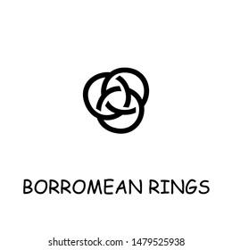 Borromean Rings flat vector icon. Hand drawn style design illustrations.
