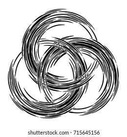 Borromean rings. Three interlaced rings drawn with a brush. Vector illustration