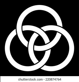 Borromean rings (three interlaced rings), vector illustration