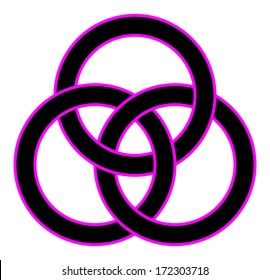 Borromean rings (three interlaced rings) for your logo, design or project (vector illustration)
