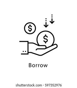 Borrow Vector line Icon