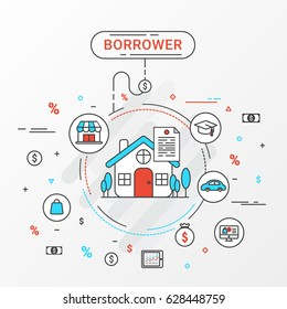 Borrower info graphics design concept. Flat line vector image about the loan shopping, education, trading, home loan and more.