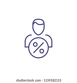 Borrower line icon. Banker, creditor, investor. Currency concept. Vector illustration can be used for topics like business, banking, finance