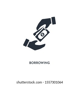 borrowing icon. simple element illustration. isolated trendy filled borrowing icon on white background. can be used for web, mobile, ui.