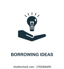 Borrowing Ideas icon. Simple illustration from digital law collection. Creative Borrowing Ideas icon for web design, templates, infographics and more