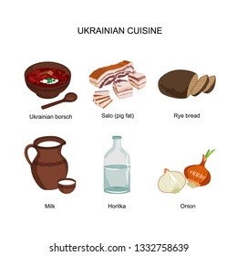 Borscht, salo, rye bread, milk, Horilka, onion - vector icons. A set of clipart Ukrainian traditional cuisine