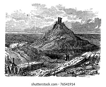 Borsippa or Birs Nimrud, in Babil, Iraq, during the 1890s, vintage engraving. Old engraved illustration of Borsippa. Trousset Encyclopedia