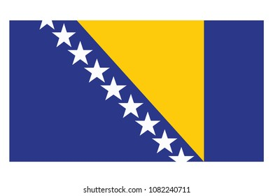 Bosnia flag isolated vector in official colors and Proportion Correctly. country's name label in bottom, Flag of the country bosnia and herzegovina. Vector illustration. Exact colors.