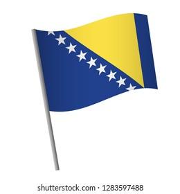 Bosnia and Herzegovina flag icon. National flag of Bosnia and Herzegovina on a pole vector illustration.