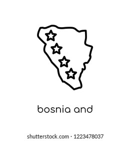 bosnia and herzegovina flag icon. Trendy modern flat linear vector bosnia and herzegovina flag icon on white background from thin line Country Flags collection, outline vector illustration
