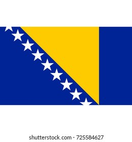 Bosnia and Herzegovina flag, official colors and proportion correctly. Bosnia and Herzegovina flag. Vector illustration