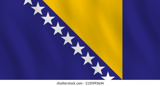 Bosnia and Herzegovina flag with waving effect, official proportion.