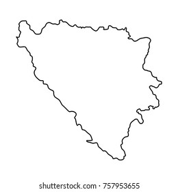 Bosnia and Herzegovina map of black contour curves on white background of vector illustration