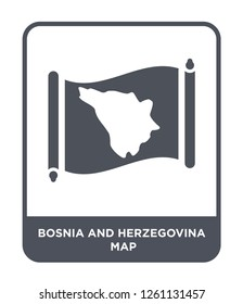 bosnia and herzegovina map icon vector on white background, bosnia and herzegovina map trendy filled icons from Countrymaps collection, bosnia and herzegovina map simple element illustration