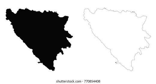Bosnia and Herzegovina outline map - detailed isolated vector country border contour maps of Bosnia on white background