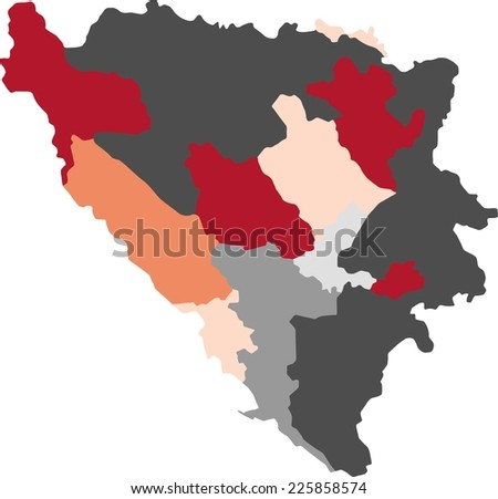 Bosnia Herzegovina Political Map Pastel Colors Stock Vector (Royalty ...