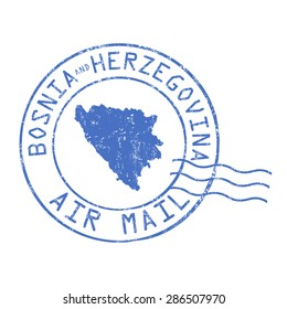 Bosnia and Herzegovina post office, air mail, grunge rubber stamp on white background, vector illustration