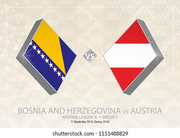 Bosnia and Herzegovina vs Austria, League B, Group 3. Europe football competition on beige soccer background.