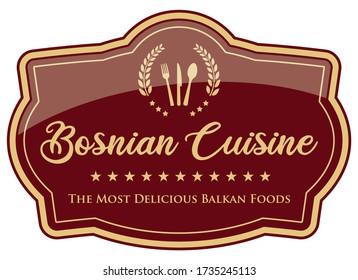 Bosnian Cuisine Label. Vector Banner.