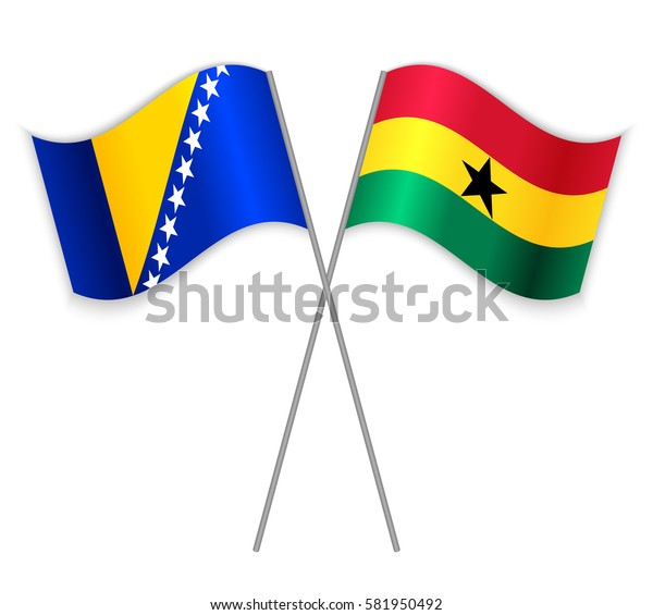 Bosnian and Ghanaian crossed flags. Bosnia and Herzegovina combined with Ghana isolated on white. Language learning, international business or travel concept.