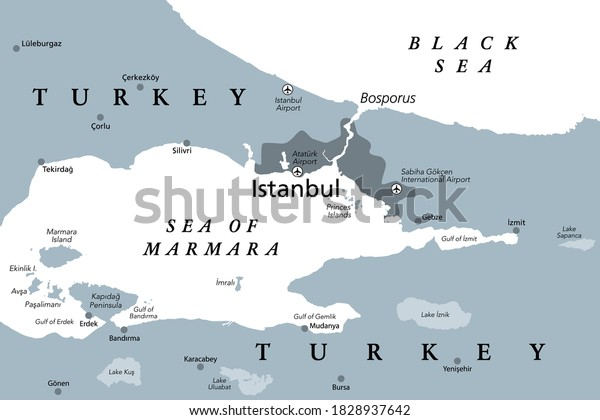 The Bosporus or Bosphorus, political map. The Strait of Istanbul, a narrow, natural strait and international waterway in Turkey. It connects the Black Sea with the Sea of Marmara. Illustration. Vector