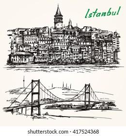 Bosporus Bridge. Hand drawn set. Istanbul, Turkey. Galata district.
