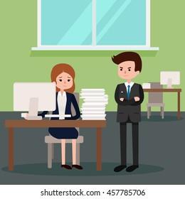 Boss angry at employee. Vector flat cartoon illustration.