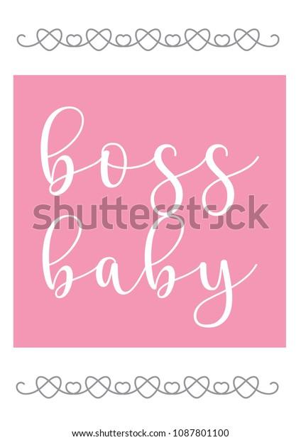 Boss Baby Hearts Vector Illustration Baby Stock Vector