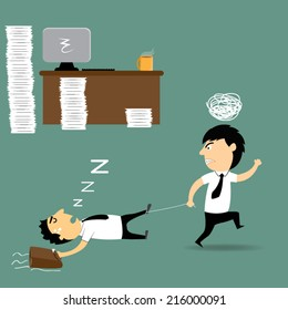 boss cartoon furious and frustrated he haul the exhausted employee falling asleep at ground, vector illustration