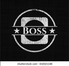 Boss chalk emblem written on a blackboard