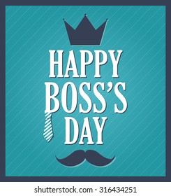 Boss Day greeting template. Blue background, dark blue frame. Vector illustration.