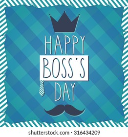 Boss Day hand drawn poster. Cloth background. Vector illustration