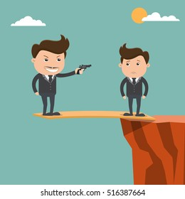 Boss and employee , Boss holding gun, standing on a cliff, Business concept - vector illustration