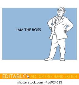 Boss. Fat man. Editable vector meme card in linear style.