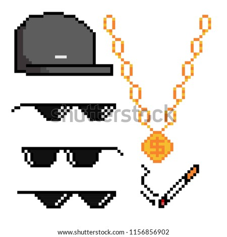 37a1a7c63e Boss Gangster Pixelated Sunglasses Gold Chain Stock Vector (Royalty ...