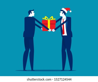 Boss giving gift box to employee. Corporate work Christmas and New Year congratulations concept. Flat cartoon vector illustration style