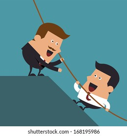 Boss giving hand to help young businessman from failed situation, Business concept